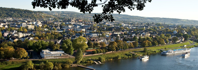 Panoramablick über den Fluss auf Trier, Römerstadt