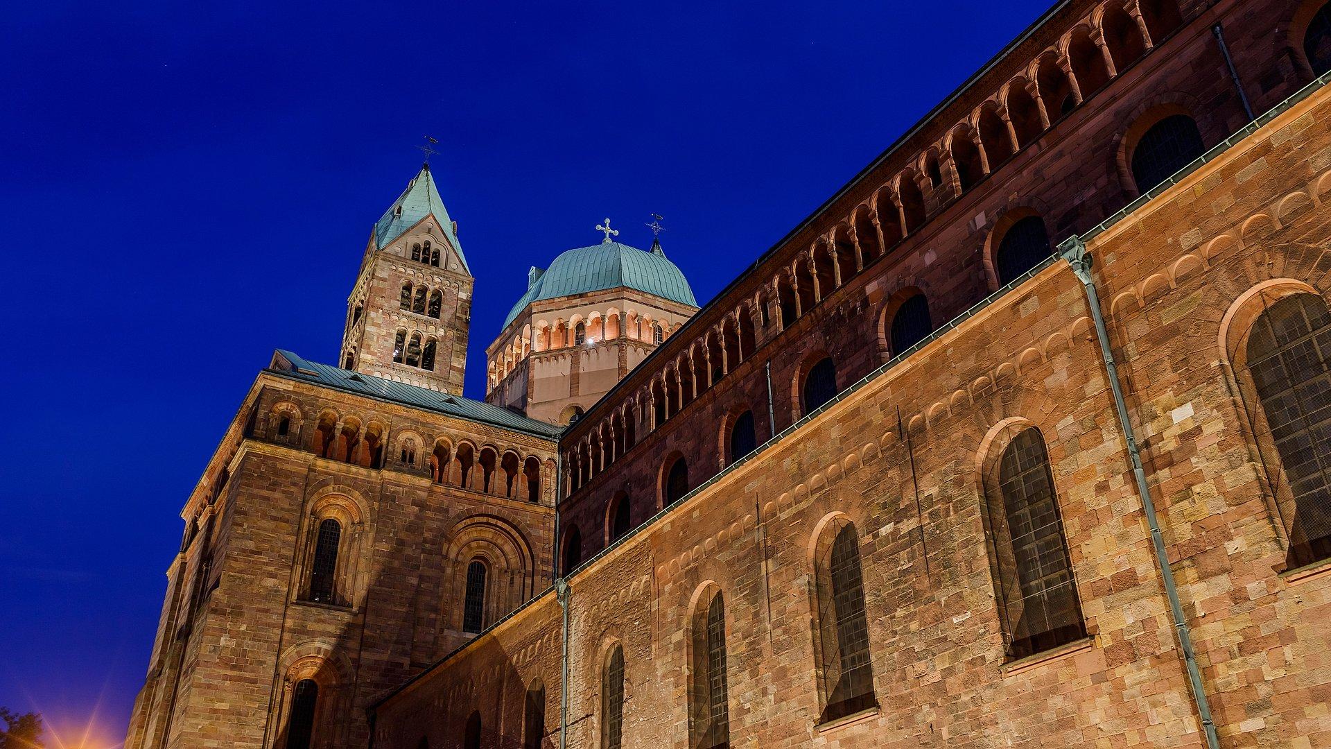 Der Dom zu Speyer bei Nacht, Pfalz