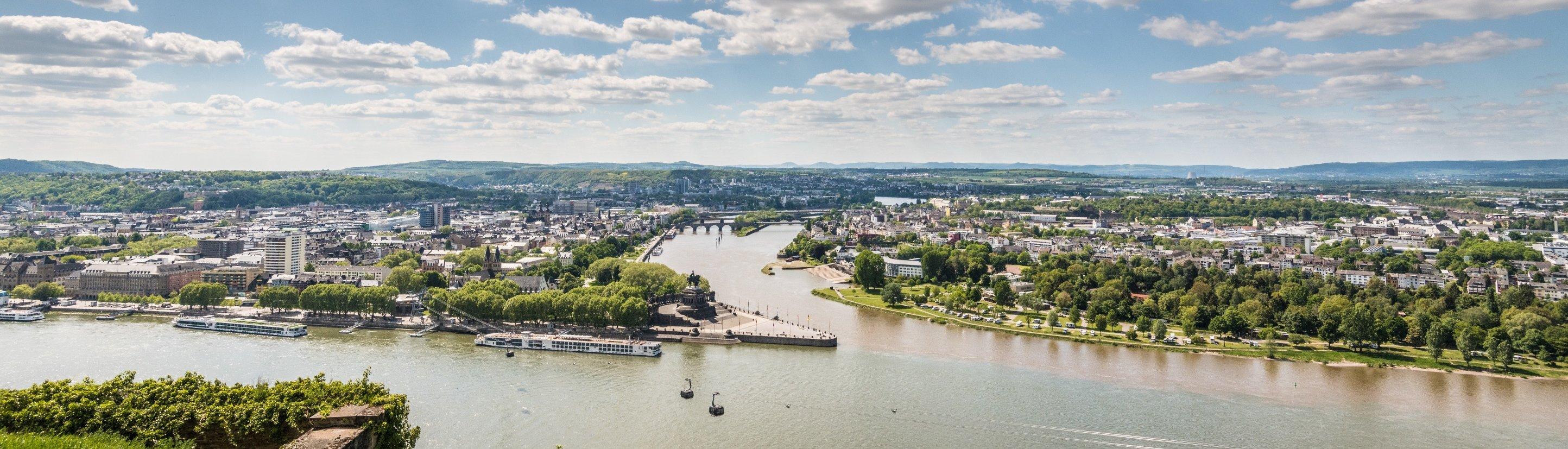Aussicht auf das Deutsche Eck in Koblenz, Romantischer Rhein