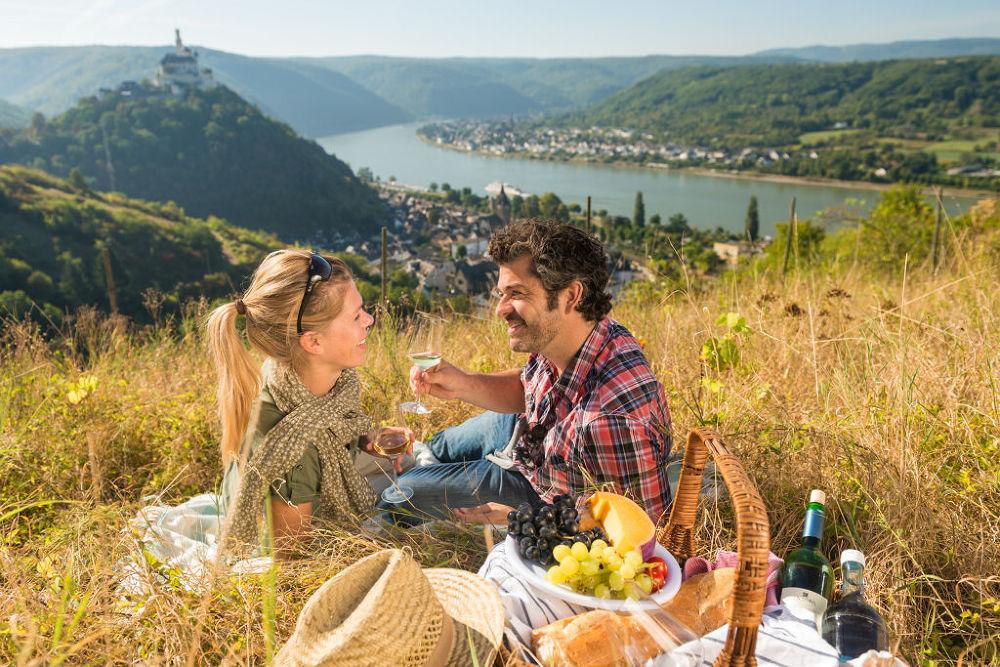 Romantisches Picknick im Weinberg bei Braubach, Romantischer Rhein